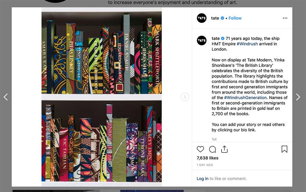 tate art museum using the social media platform instagram